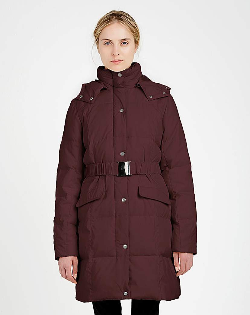 Puffa Padded Belted Coat - pattern: plain; collar: funnel; length: mid thigh; predominant colour: burgundy; occasions: casual; fit: tailored/fitted; fibres: polyester/polyamide - 100%; waist detail: belted waist/tie at waist/drawstring; sleeve length: long sleeve; sleeve style: standard; texture group: technical outdoor fabrics; collar break: high; pattern type: fabric; style: puffa; season: a/w 2015; wardrobe: highlight