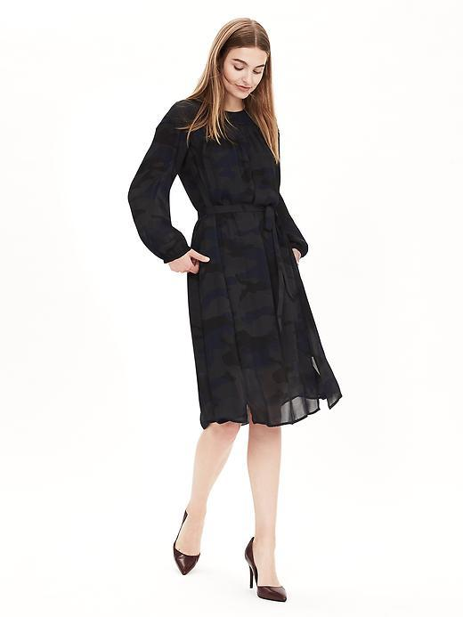 Camo Shirtdress Blue Print - style: shift; length: below the knee; waist detail: belted waist/tie at waist/drawstring; predominant colour: black; occasions: evening; fit: body skimming; fibres: polyester/polyamide - 100%; neckline: crew; sleeve length: long sleeve; sleeve style: standard; texture group: lace; pattern type: fabric; pattern size: standard; pattern: patterned/print; embellishment: lace; season: a/w 2015; wardrobe: event