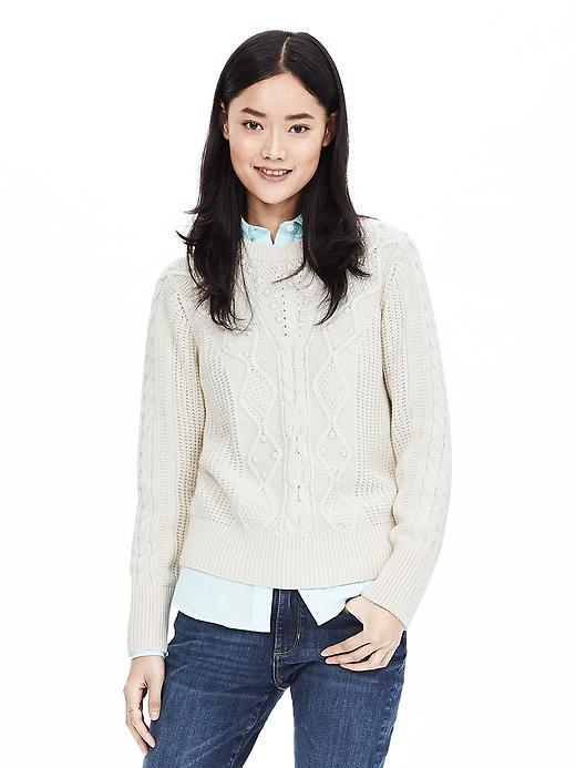 Beaded Crew Pullover Cocoon - neckline: round neck; pattern: plain; style: standard; predominant colour: ivory/cream; occasions: casual, creative work; length: standard; fit: standard fit; sleeve length: long sleeve; sleeve style: standard; texture group: knits/crochet; pattern type: knitted - fine stitch; embellishment: beading; fibres: viscose/rayon - mix; season: a/w 2015; wardrobe: highlight