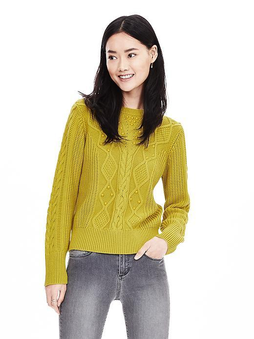 Beaded Crew Pullover Bright Celery - pattern: plain; style: standard; predominant colour: yellow; occasions: casual, creative work; length: standard; fibres: wool - mix; fit: standard fit; neckline: crew; sleeve length: long sleeve; sleeve style: standard; texture group: knits/crochet; pattern type: knitted - fine stitch; season: a/w 2015; wardrobe: highlight