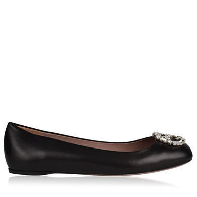 Crystal Monogram Ballet Pump Shoes - predominant colour: black; occasions: casual; material: leather; heel height: flat; embellishment: crystals/glass; toe: round toe; style: ballerinas / pumps; finish: plain; pattern: plain; season: a/w 2015