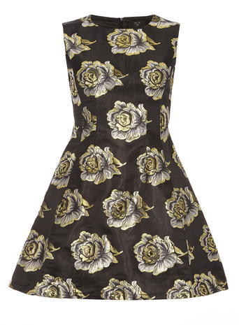 Womens **Ax Paris Navy And Black Metallic Floral Dress Black - length: mid thigh; sleeve style: sleeveless; secondary colour: white; predominant colour: black; occasions: evening, occasion; fit: fitted at waist & bust; style: fit & flare; fibres: polyester/polyamide - 100%; neckline: crew; hip detail: soft pleats at hip/draping at hip/flared at hip; sleeve length: sleeveless; pattern type: fabric; pattern size: big & busy; pattern: florals; texture group: woven light midweight; multicoloured: multicoloured; season: a/w 2015