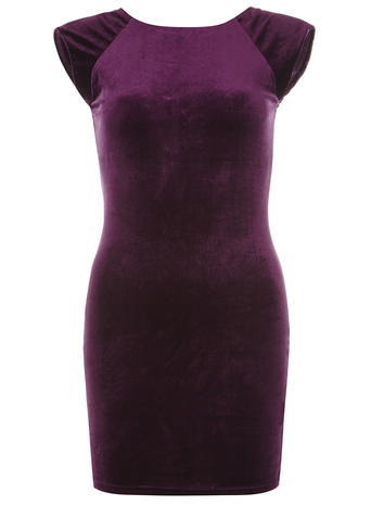 Womens **Ax Paris Navy Plum Velvet Bodycon Dress Plum - style: shift; length: mid thigh; neckline: round neck; sleeve style: capped; fit: tight; pattern: plain; predominant colour: aubergine; occasions: evening; fibres: polyester/polyamide - stretch; sleeve length: short sleeve; pattern type: fabric; texture group: velvet/fabrics with pile; season: a/w 2015