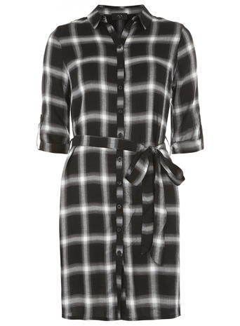 Womens **Ax Paris Navy Black Check Shirt Dress Black - style: shirt; neckline: shirt collar/peter pan/zip with opening; fit: loose; pattern: checked/gingham; waist detail: belted waist/tie at waist/drawstring; bust detail: buttons at bust (in middle at breastbone)/zip detail at bust; secondary colour: white; predominant colour: black; occasions: casual, creative work; length: just above the knee; fibres: cotton - mix; sleeve length: 3/4 length; sleeve style: standard; pattern type: fabric; pattern size: standard; texture group: other - light to midweight; season: a/w 2015