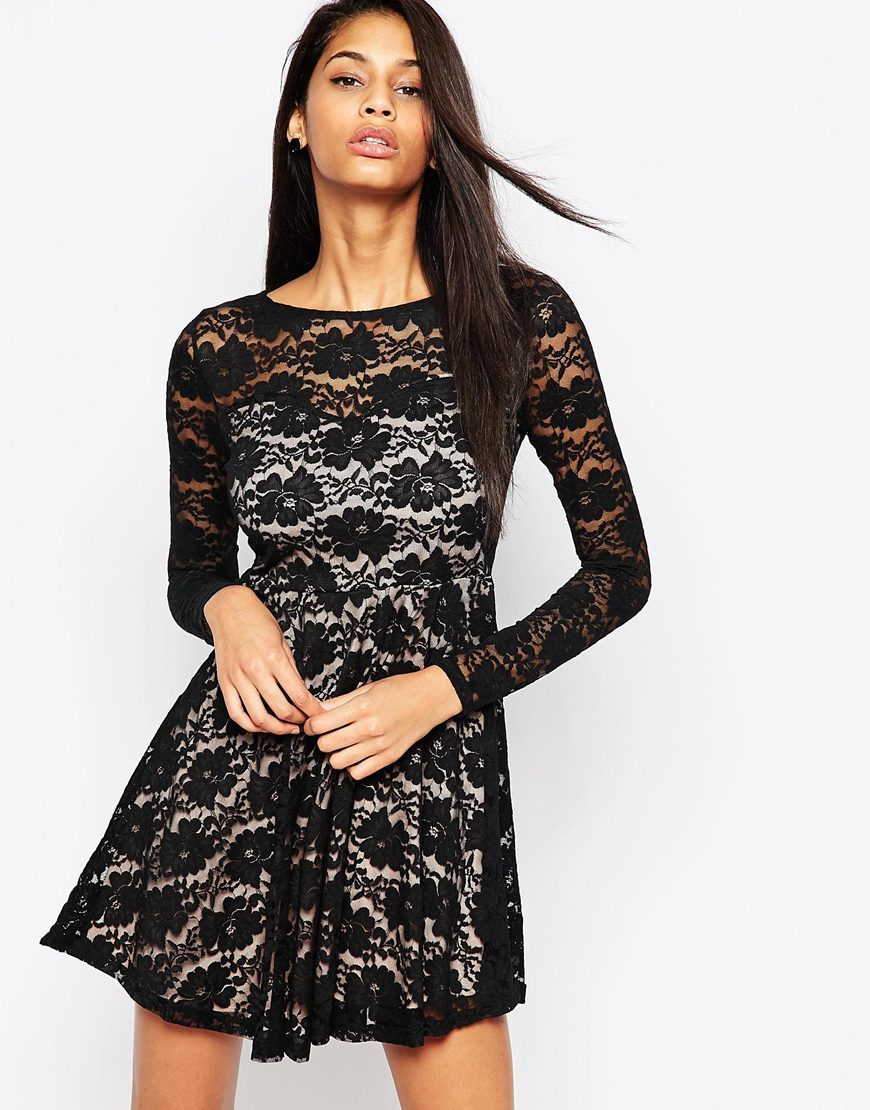 Lace Skater Dress With Long Sleeves Black Lace - length: mini; neckline: round neck; secondary colour: ivory/cream; predominant colour: black; occasions: evening; fit: fitted at waist & bust; style: fit & flare; fibres: polyester/polyamide - 100%; hip detail: soft pleats at hip/draping at hip/flared at hip; sleeve length: long sleeve; sleeve style: standard; texture group: lace; pattern type: fabric; pattern size: standard; pattern: patterned/print; season: a/w 2015; trends: romantic goth; wardrobe: event