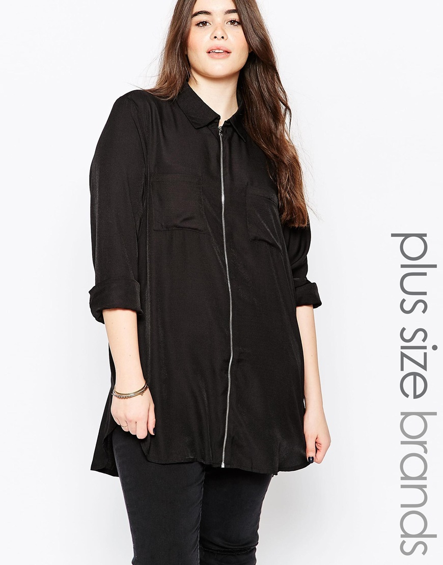 Plus Utility Longline Shirt Black - neckline: shirt collar/peter pan/zip with opening; pattern: plain; length: below the bottom; style: shirt; bust detail: pocket detail at bust; predominant colour: black; occasions: casual, creative work; fibres: polyester/polyamide - 100%; fit: loose; sleeve length: 3/4 length; sleeve style: standard; texture group: silky - light; pattern type: fabric; embellishment: zips; season: a/w 2015; wardrobe: highlight