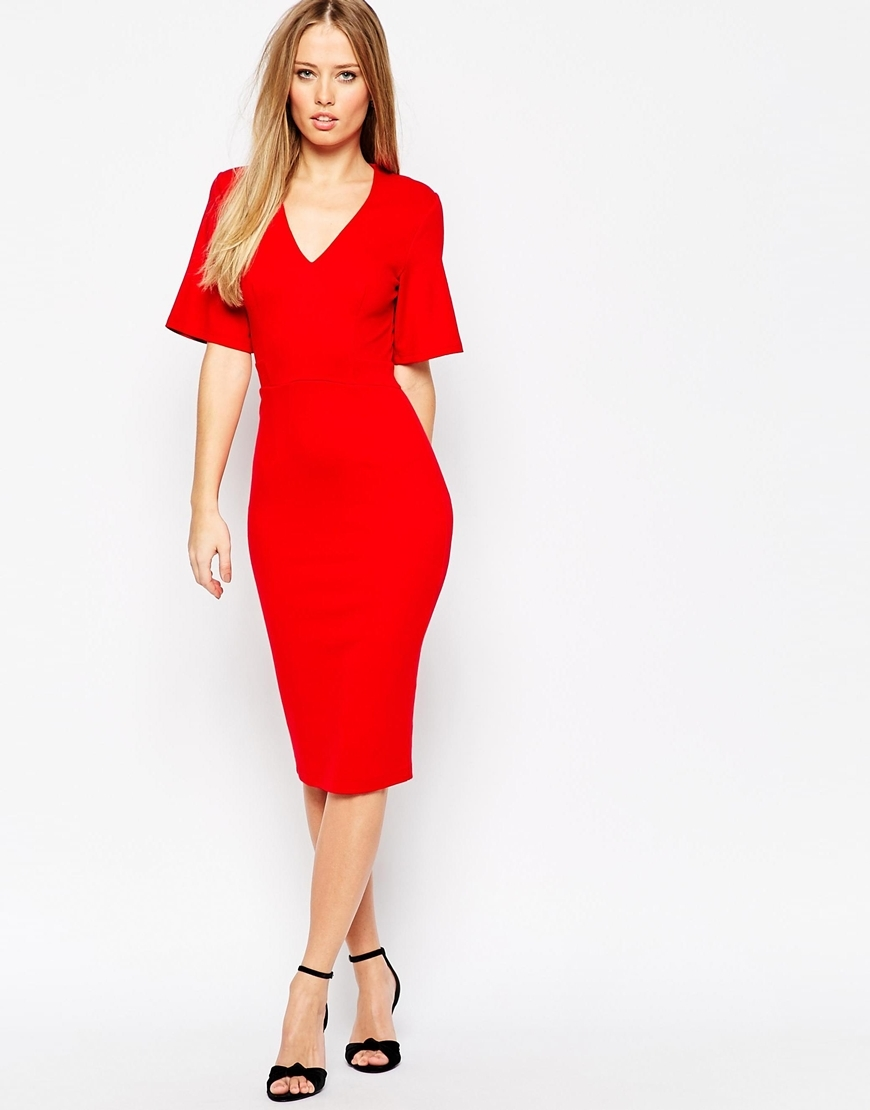 Plunge Neck Pencil Dress Red - length: below the knee; neckline: v-neck; fit: tight; pattern: plain; style: bodycon; predominant colour: true red; occasions: evening; fibres: polyester/polyamide - stretch; sleeve length: short sleeve; sleeve style: standard; texture group: jersey - clingy; pattern type: fabric; season: a/w 2015; wardrobe: event