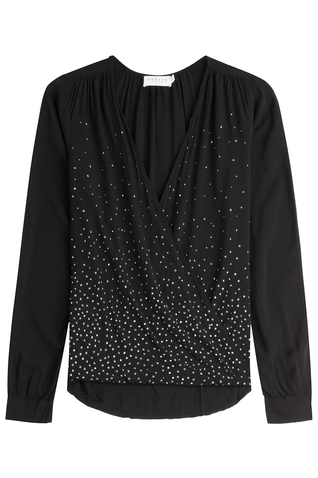 Embellished Blouse - neckline: v-neck; pattern: plain; style: blouse; predominant colour: black; occasions: evening, occasion; length: standard; fit: body skimming; back detail: longer hem at back than at front; sleeve length: long sleeve; sleeve style: standard; pattern type: fabric; texture group: other - light to midweight; embellishment: beading; season: a/w 2015; wardrobe: event