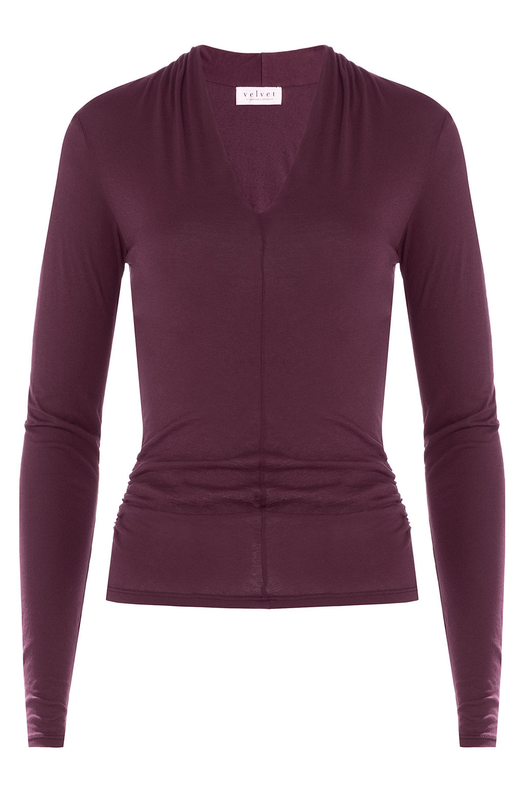 Cotton Top Red - neckline: v-neck; pattern: plain; predominant colour: aubergine; occasions: casual, creative work; length: standard; style: top; fibres: cotton - 100%; fit: body skimming; sleeve length: long sleeve; sleeve style: standard; pattern type: fabric; pattern size: standard; texture group: jersey - stretchy/drapey; season: a/w 2015; wardrobe: highlight
