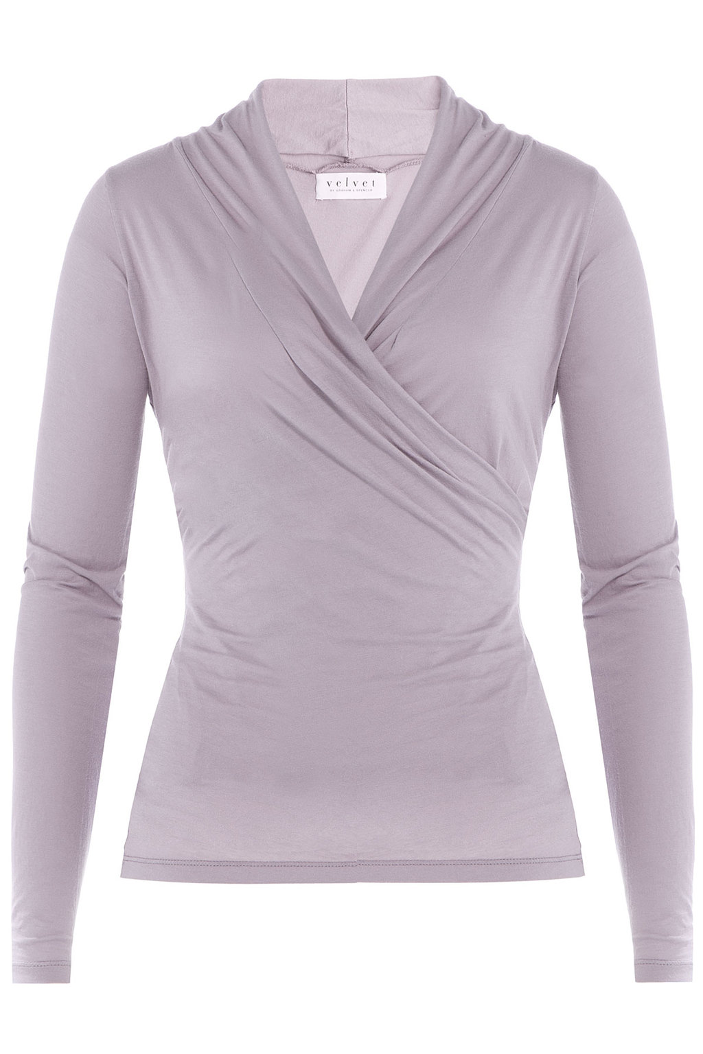 Draped Cotton Top - neckline: v-neck; pattern: plain; style: wrap/faux wrap; bust detail: subtle bust detail; predominant colour: mid grey; occasions: casual, creative work; length: standard; fibres: cotton - 100%; fit: body skimming; sleeve length: long sleeve; sleeve style: standard; texture group: jersey - clingy; pattern type: fabric; season: a/w 2015; wardrobe: basic