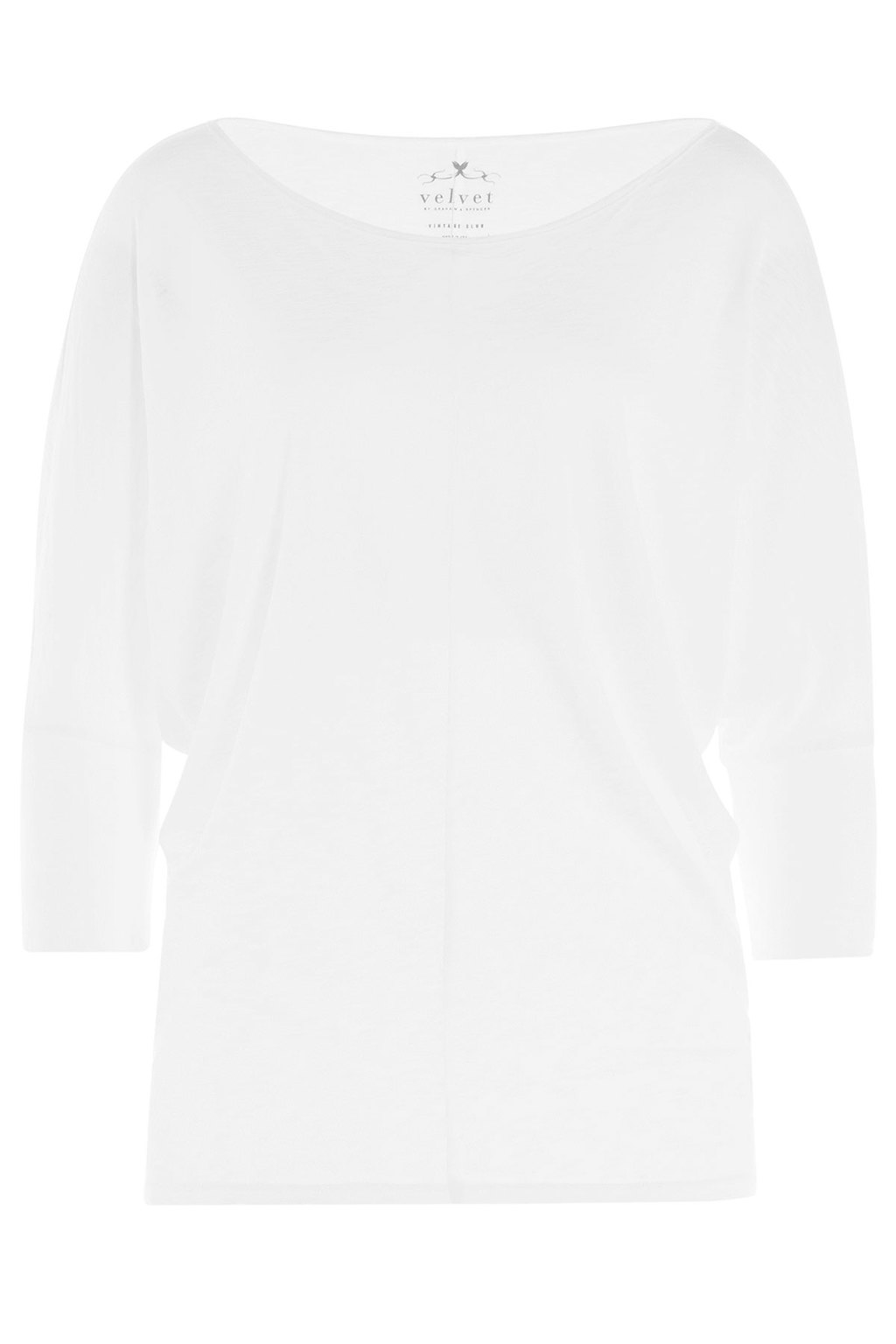 Jersey Top White - neckline: slash/boat neckline; pattern: plain; style: t-shirt; predominant colour: white; occasions: casual, creative work; length: standard; fibres: cotton - mix; fit: body skimming; sleeve length: 3/4 length; sleeve style: standard; pattern type: fabric; texture group: jersey - stretchy/drapey; season: a/w 2015; wardrobe: basic