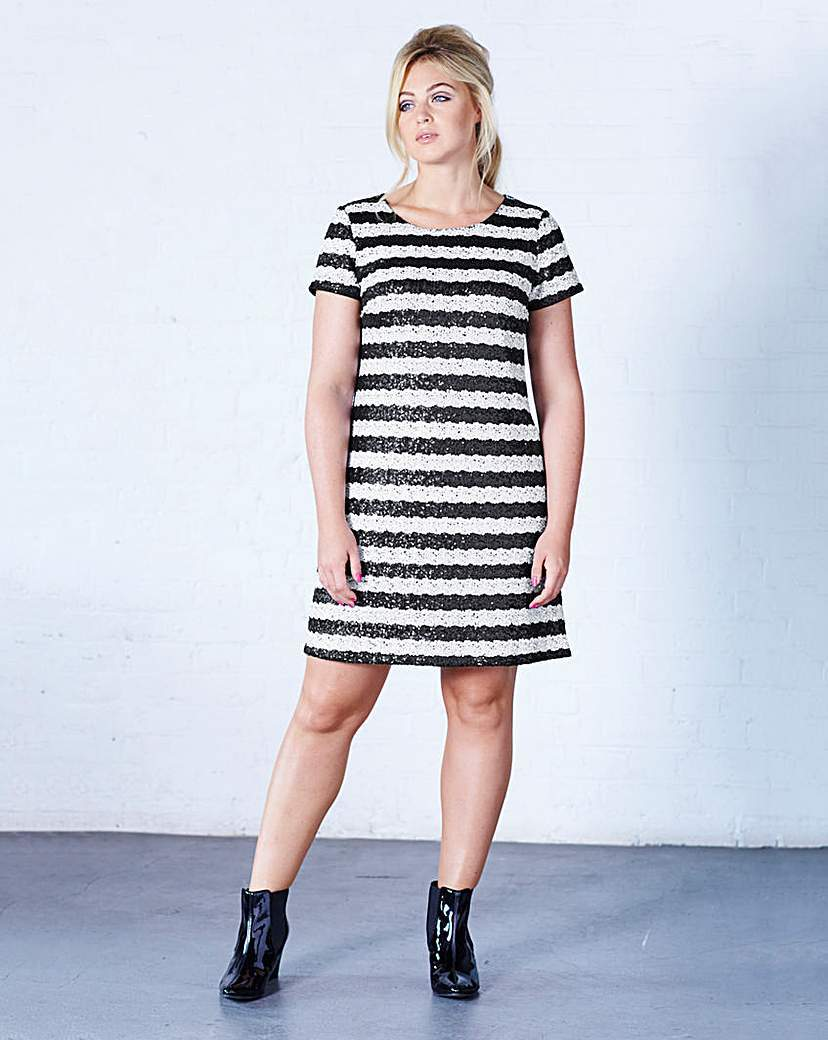 Striped Sequin Short Sleeve Shift Dress - style: shift; neckline: round neck; pattern: horizontal stripes; secondary colour: white; predominant colour: black; occasions: evening; length: just above the knee; fit: soft a-line; fibres: polyester/polyamide - 100%; sleeve length: short sleeve; sleeve style: standard; pattern type: fabric; texture group: woven light midweight; embellishment: sequins; season: a/w 2015; wardrobe: event; embellishment location: pattern