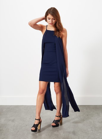 Womens Navy Cape Maxi Dress, Navy - style: shift; length: mid thigh; neckline: round neck; pattern: plain; sleeve style: sleeveless; predominant colour: navy; occasions: evening; fit: body skimming; fibres: polyester/polyamide - stretch; sleeve length: sleeveless; pattern type: fabric; texture group: jersey - stretchy/drapey; season: a/w 2015; wardrobe: event