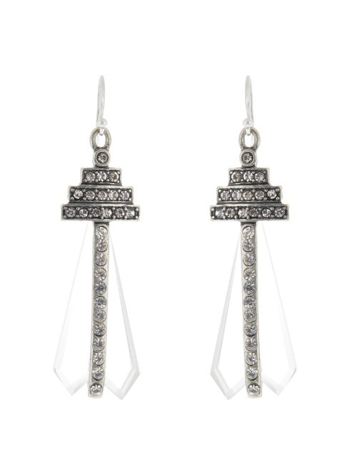 Crystaline Earrings - predominant colour: silver; occasions: evening, occasion; style: chandelier; length: long; size: large/oversized; material: chain/metal; fastening: pierced; finish: metallic; embellishment: crystals/glass; season: a/w 2015; wardrobe: event