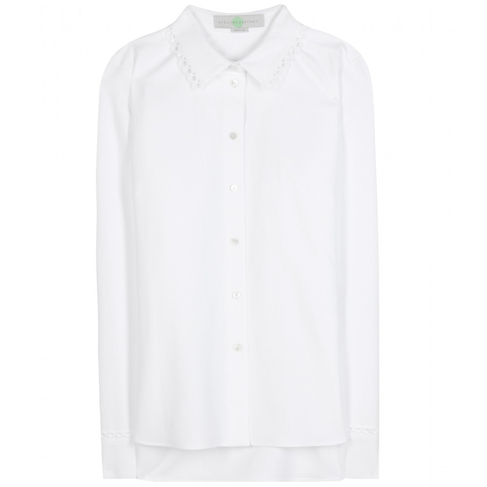 Cotton Piqué Shirt - neckline: shirt collar/peter pan/zip with opening; pattern: plain; length: below the bottom; style: shirt; predominant colour: white; occasions: casual, work, creative work; fibres: cotton - 100%; fit: body skimming; back detail: longer hem at back than at front; sleeve length: long sleeve; sleeve style: standard; texture group: cotton feel fabrics; pattern type: fabric; season: a/w 2015; wardrobe: basic