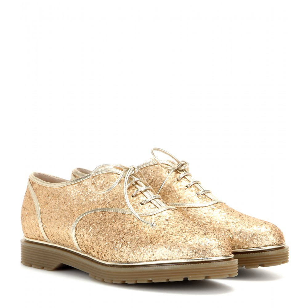 Stefania Glitter Embellished Oxford Shoes - predominant colour: gold; occasions: casual, creative work; material: leather; heel height: flat; embellishment: glitter; toe: round toe; style: brogues; finish: metallic; pattern: plain; shoe detail: tread; season: a/w 2015