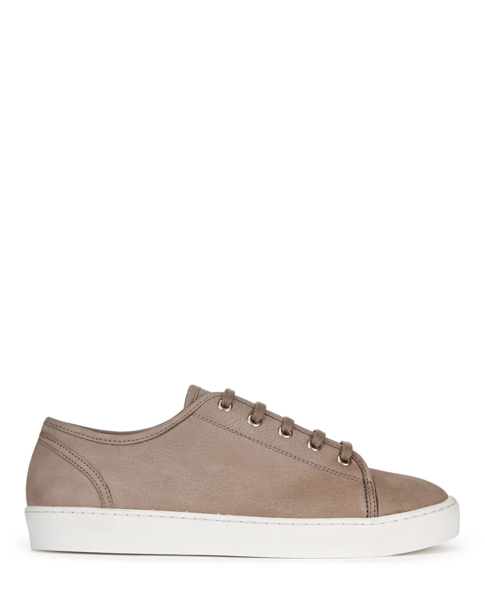 Ayda Leather Trainers - predominant colour: taupe; occasions: casual; material: leather; heel height: flat; toe: round toe; style: trainers; finish: plain; pattern: plain; shoe detail: moulded soul; season: a/w 2015