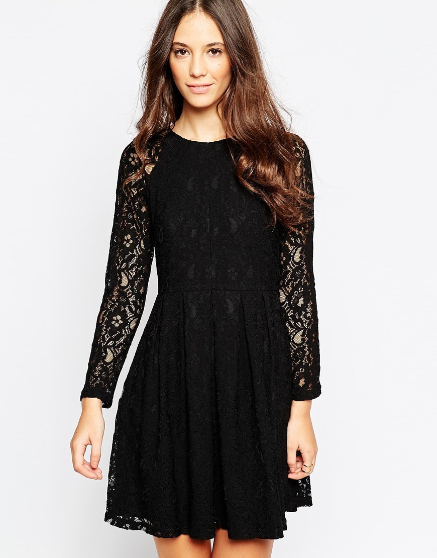 Because Sometimes You Should Supreme Dress In Lace Black - length: mid thigh; predominant colour: black; occasions: evening, occasion; fit: fitted at waist & bust; style: fit & flare; fibres: polyester/polyamide - 100%; neckline: crew; hip detail: subtle/flattering hip detail; sleeve length: long sleeve; sleeve style: standard; texture group: lace; pattern type: fabric; pattern size: standard; pattern: patterned/print; shoulder detail: sheer at shoulder; season: a/w 2015; trends: romantic goth; wardrobe: event
