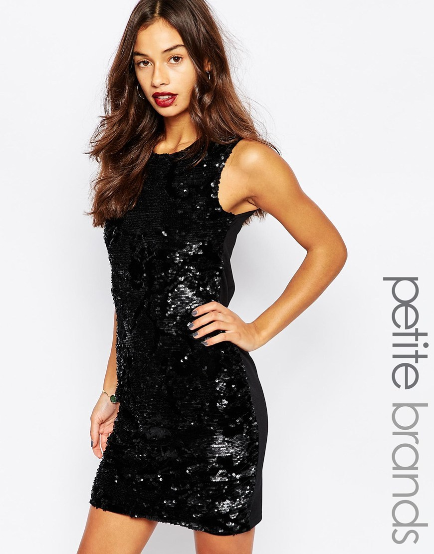 Sequin Bodycon Dress Black - length: mid thigh; fit: tight; pattern: plain; sleeve style: sleeveless; style: bodycon; predominant colour: black; occasions: evening; fibres: polyester/polyamide - 100%; neckline: crew; sleeve length: sleeveless; texture group: jersey - clingy; pattern type: fabric; embellishment: sequins; season: a/w 2015; wardrobe: event