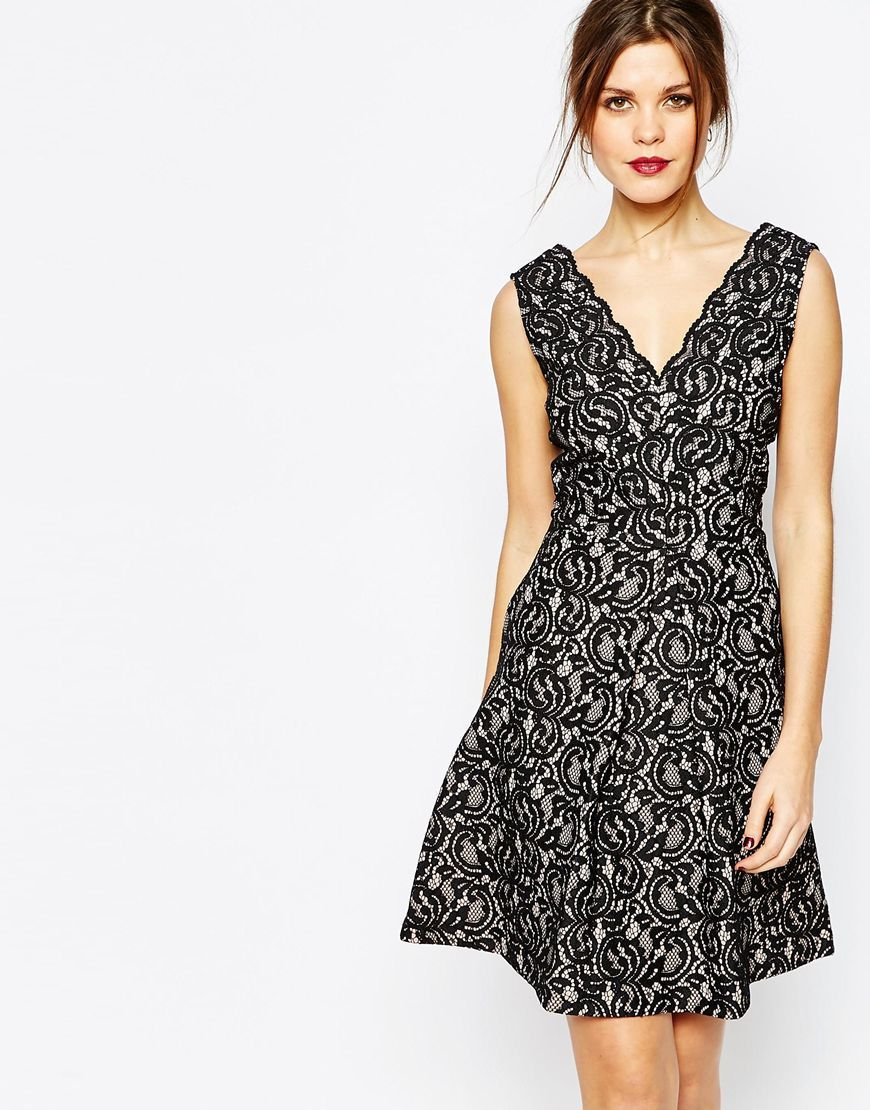 Lace Skater Dress Black - length: mid thigh; neckline: v-neck; sleeve style: sleeveless; predominant colour: black; occasions: evening, occasion; fit: fitted at waist & bust; style: fit & flare; fibres: polyester/polyamide - mix; hip detail: soft pleats at hip/draping at hip/flared at hip; sleeve length: sleeveless; texture group: lace; pattern type: fabric; pattern size: standard; pattern: patterned/print; season: a/w 2015; wardrobe: event