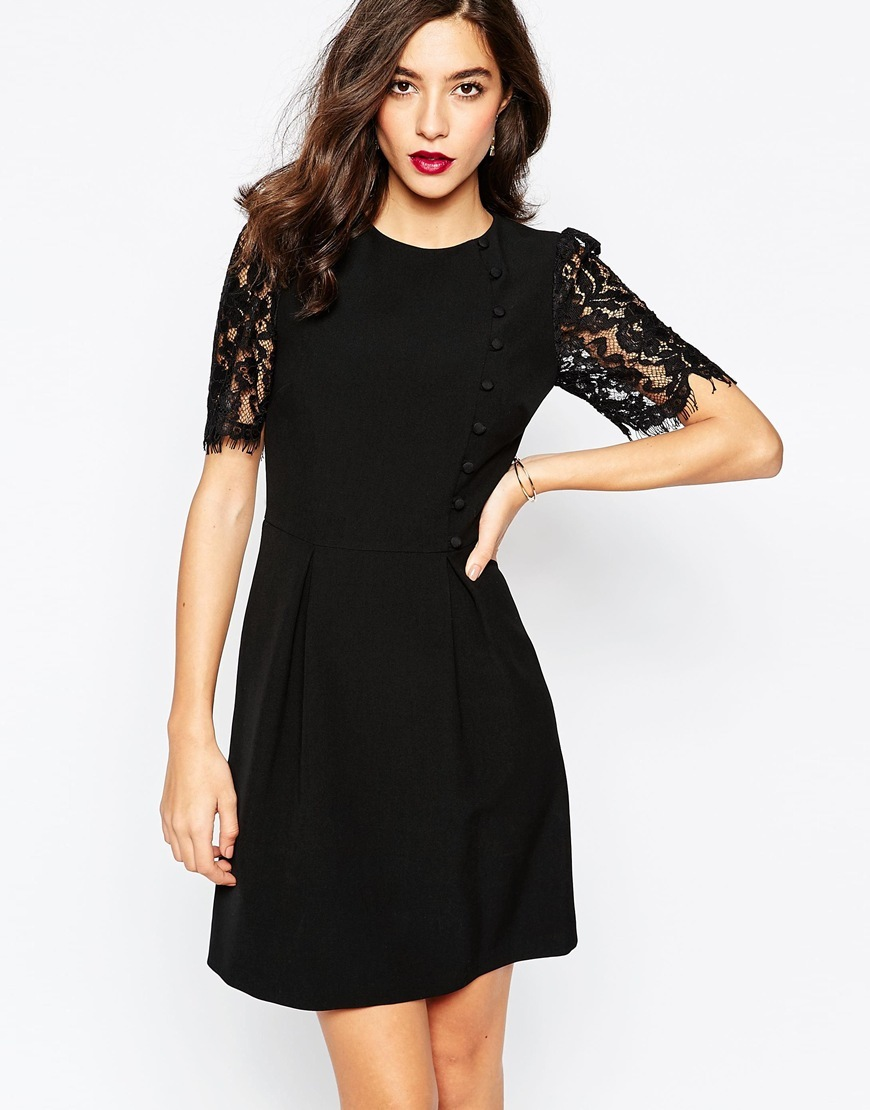 Lace Sleeve Button Front Dress Black - length: mid thigh; pattern: plain; bust detail: subtle bust detail; predominant colour: black; occasions: evening; fit: fitted at waist & bust; style: fit & flare; fibres: polyester/polyamide - 100%; neckline: crew; sleeve length: short sleeve; sleeve style: standard; texture group: crepes; pattern type: fabric; embellishment: lace; shoulder detail: sheer at shoulder; season: a/w 2015; wardrobe: event; embellishment location: sleeve/cuff