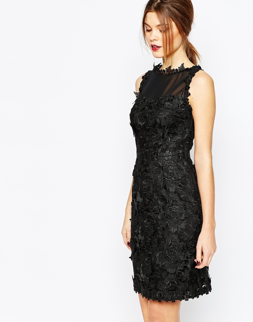 Premium Lace Dress Black - style: shift; neckline: slash/boat neckline; sleeve style: standard vest straps/shoulder straps; fit: tailored/fitted; predominant colour: black; occasions: evening, occasion; length: just above the knee; fibres: polyester/polyamide - 100%; sleeve length: sleeveless; texture group: lace; pattern type: fabric; pattern size: standard; pattern: patterned/print; season: a/w 2015