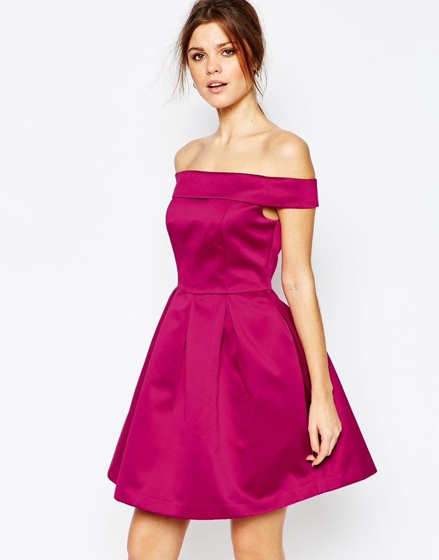 Satin Bardot Prom Dress Pink - length: mid thigh; neckline: off the shoulder; sleeve style: capped; pattern: plain; style: prom dress; predominant colour: hot pink; occasions: evening, occasion; fit: fitted at waist & bust; fibres: polyester/polyamide - 100%; hip detail: adds bulk at the hips; sleeve length: short sleeve; texture group: structured shiny - satin/tafetta/silk etc.; pattern type: fabric; pattern size: standard; season: a/w 2015; wardrobe: event