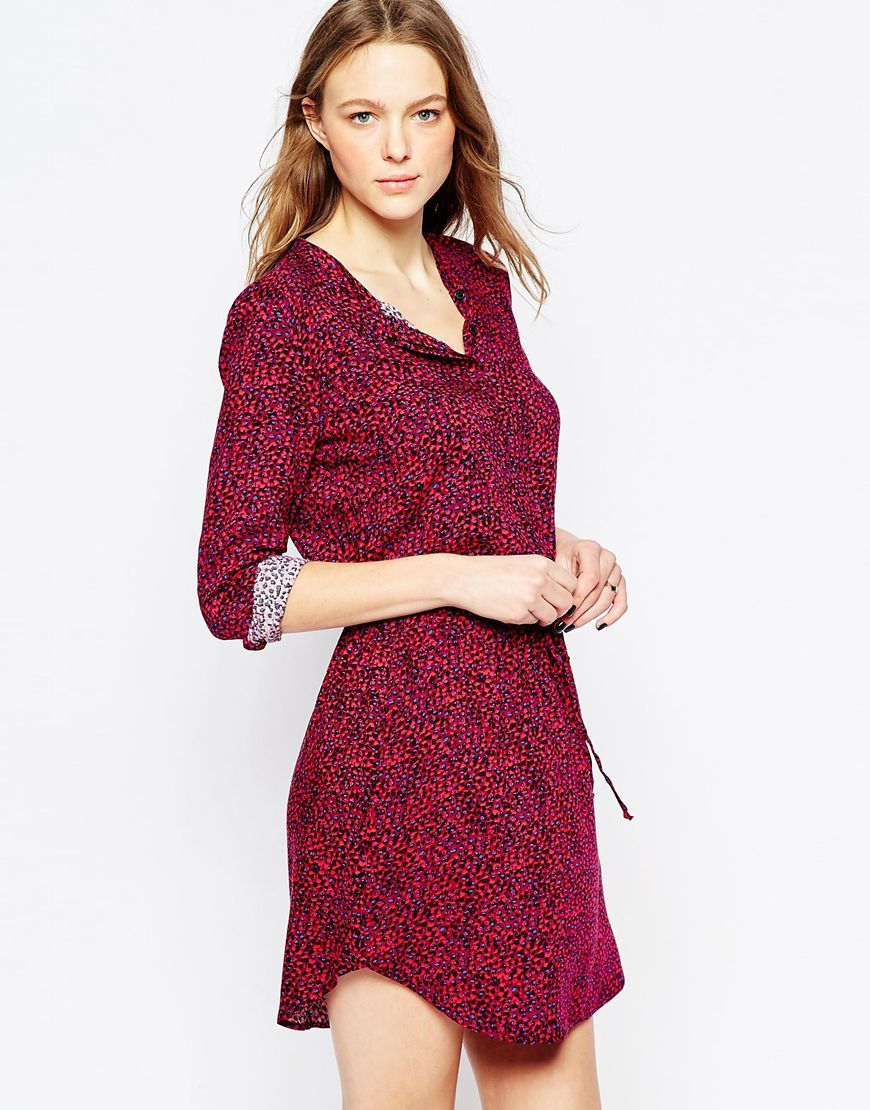 West Village Leopard Dress Aubergine - style: shirt; length: mid thigh; occasions: casual; fit: body skimming; neckline: collarstand; fibres: viscose/rayon - 100%; sleeve length: long sleeve; sleeve style: standard; pattern type: fabric; pattern size: standard; pattern: animal print; texture group: woven light midweight; predominant colour: raspberry; multicoloured: multicoloured; season: a/w 2015