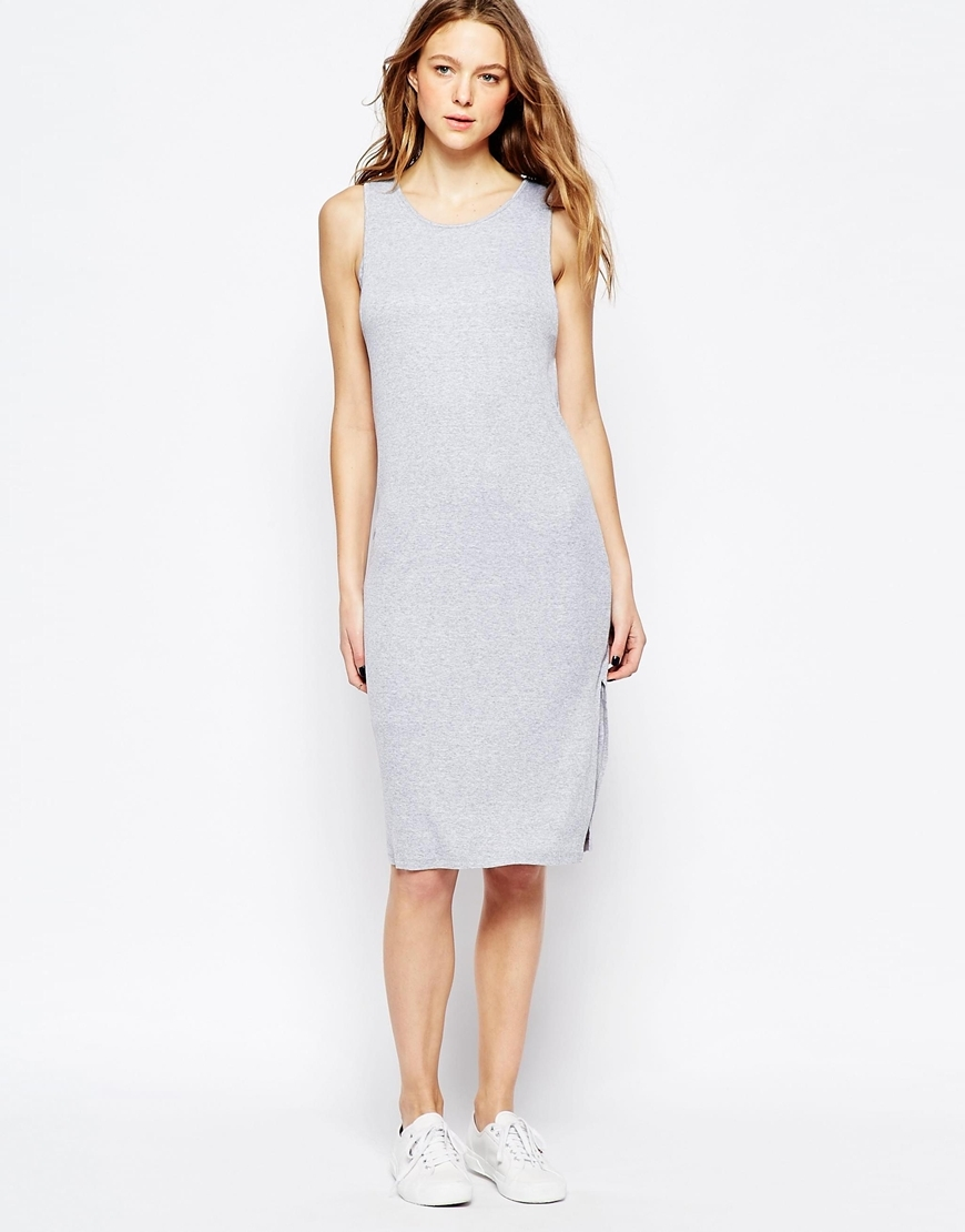 Ribbed Sleeveless Midi Dress Heather Grey - style: shift; length: below the knee; neckline: round neck; pattern: plain; sleeve style: sleeveless; predominant colour: light grey; occasions: casual, creative work; fit: body skimming; fibres: viscose/rayon - stretch; sleeve length: sleeveless; pattern type: fabric; texture group: jersey - stretchy/drapey; season: a/w 2015