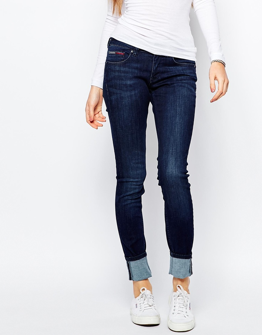 Low Rise Skinny Sophie Jean Dark Stretch - style: skinny leg; length: standard; pattern: plain; waist: mid/regular rise; predominant colour: navy; occasions: casual, creative work; fibres: cotton - mix; jeans & bottoms detail: turn ups; texture group: denim; pattern type: fabric; season: a/w 2015; wardrobe: basic