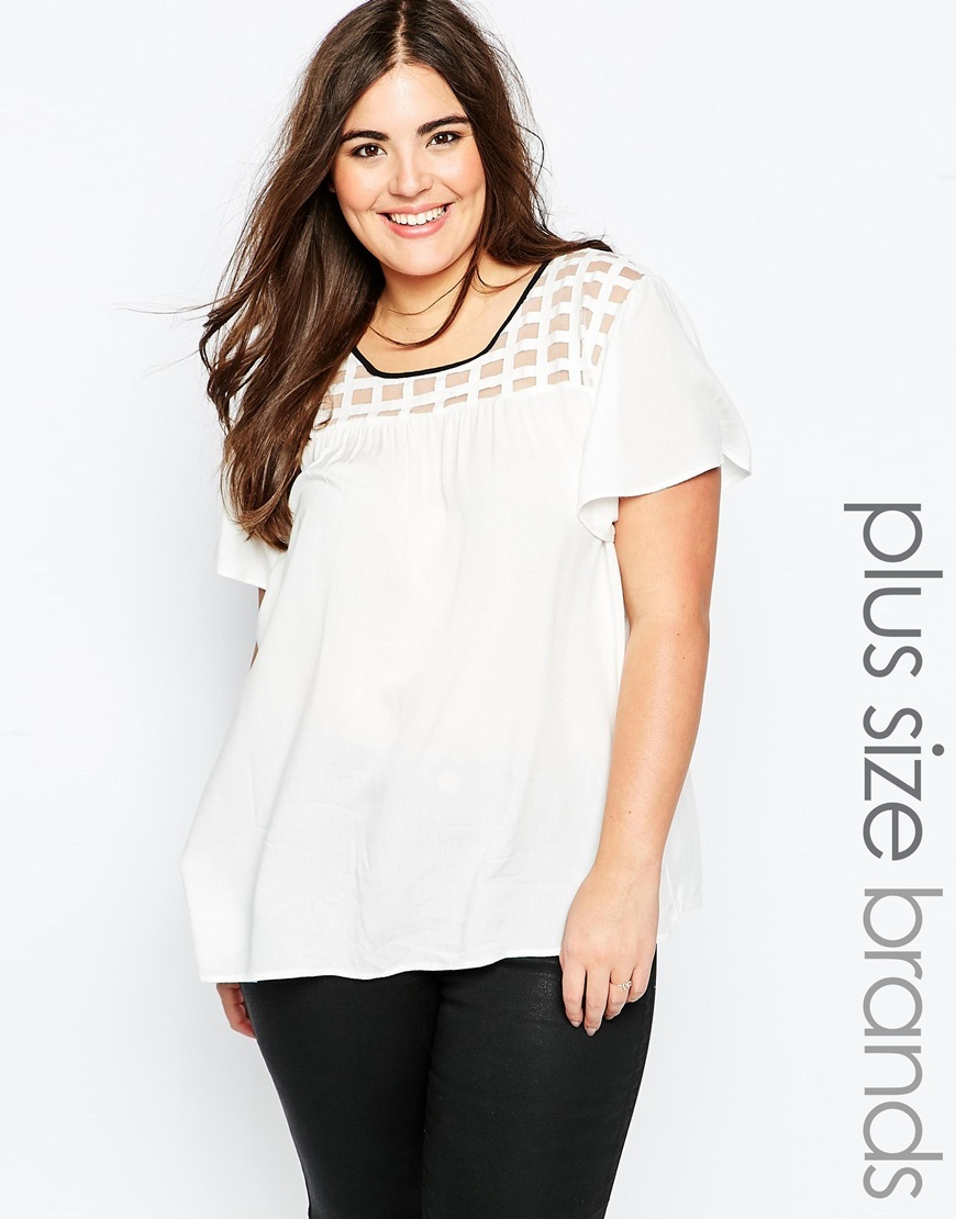Top With Caged Yoke White - neckline: round neck; pattern: plain; predominant colour: white; occasions: casual, creative work; length: standard; style: top; fibres: viscose/rayon - 100%; fit: straight cut; sleeve length: short sleeve; sleeve style: standard; pattern type: fabric; texture group: other - light to midweight; season: a/w 2015