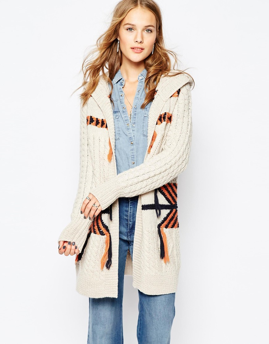 Tassel Aztec Cardigan Birch - back detail: hood; neckline: collarless open; style: open front; secondary colour: ivory/cream; predominant colour: navy; occasions: casual; fibres: wool - mix; fit: standard fit; length: mid thigh; sleeve length: long sleeve; sleeve style: standard; texture group: knits/crochet; pattern type: knitted - other; pattern: patterned/print; pattern size: big & busy (top); multicoloured: multicoloured; season: a/w 2015