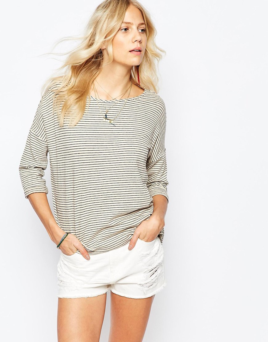 Stripe Top Multi - neckline: round neck; pattern: horizontal stripes; predominant colour: light grey; occasions: casual, work, creative work; length: standard; style: top; fibres: cotton - mix; fit: body skimming; sleeve length: 3/4 length; sleeve style: standard; texture group: linen; pattern type: fabric; pattern size: light/subtle; season: a/w 2015