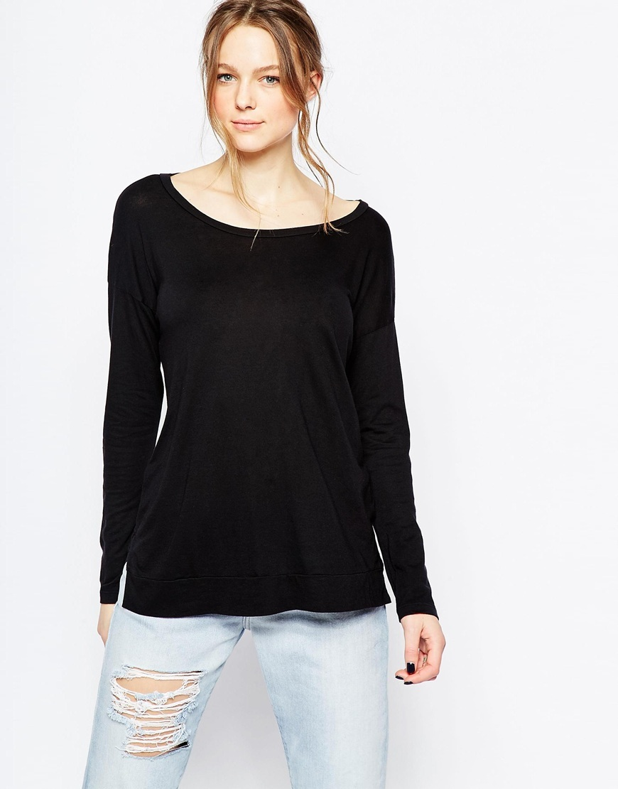 Scoop Back Long Sleeve Top Black - pattern: plain; predominant colour: black; occasions: casual, work, creative work; length: standard; style: top; neckline: scoop; fibres: cotton - mix; fit: body skimming; sleeve length: long sleeve; sleeve style: standard; pattern type: fabric; texture group: jersey - stretchy/drapey; season: a/w 2015; wardrobe: basic