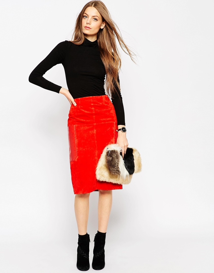 Suede Pencil Skirt With Leather Pockets Orange - length: below the knee; pattern: plain; style: pencil; fit: tailored/fitted; waist: high rise; predominant colour: bright orange; occasions: work, creative work; fibres: leather - 100%; waist detail: narrow waistband; pattern type: fabric; texture group: suede; season: a/w 2015