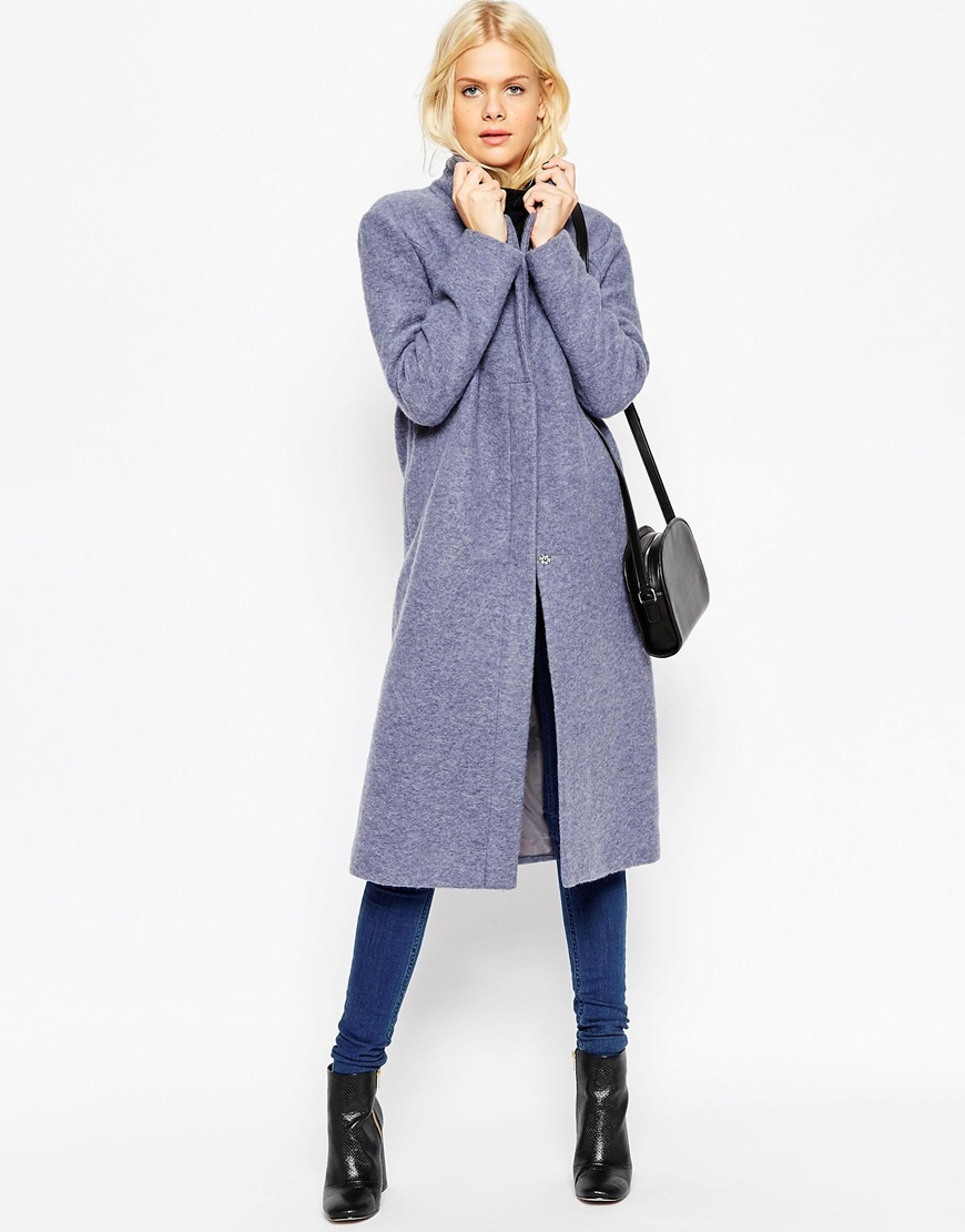 Wool Blend Coat With Zip Front Denim Blue - pattern: plain; collar: funnel; style: single breasted; length: on the knee; predominant colour: denim; occasions: casual, work, creative work; fit: tailored/fitted; fibres: wool - mix; sleeve length: long sleeve; sleeve style: standard; collar break: high; pattern type: fabric; texture group: woven bulky/heavy; season: a/w 2015; wardrobe: highlight