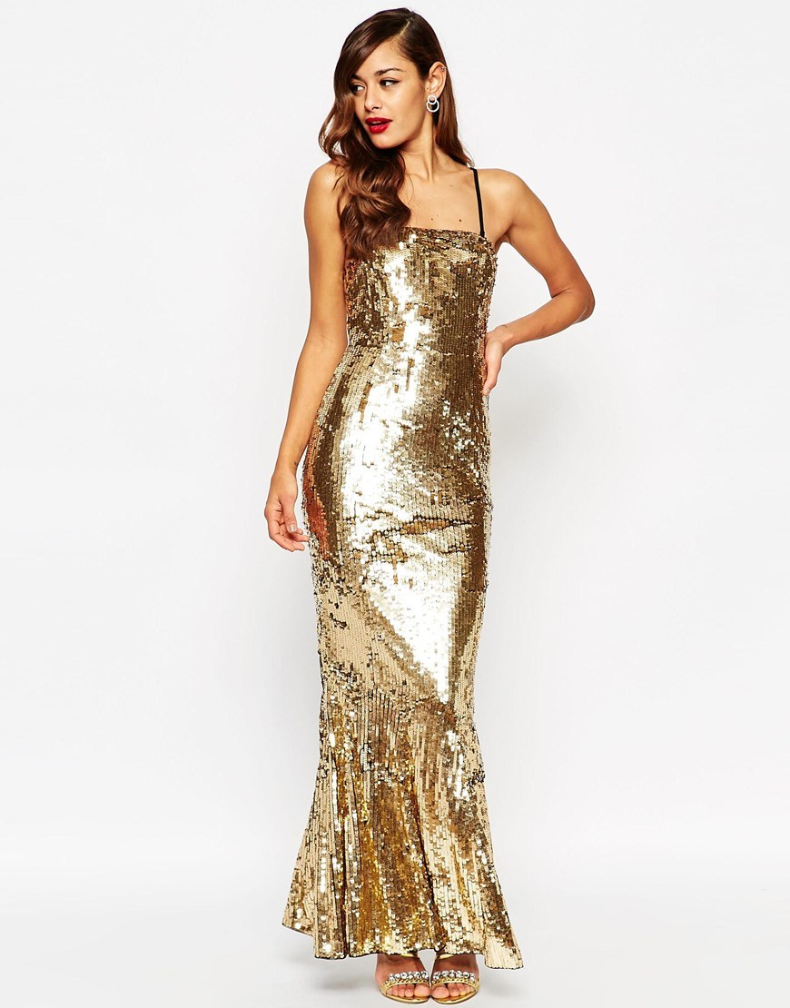 Red Carpet Sequin Bandeau Fishtail Maxi Dress Gold - style: ballgown; sleeve style: spaghetti straps; pattern: plain; length: ankle length; predominant colour: gold; occasions: evening; fit: body skimming; fibres: polyester/polyamide - 100%; sleeve length: sleeveless; texture group: ornate wovens; neckline: medium square neck; pattern type: fabric; embellishment: sequins; season: a/w 2015; wardrobe: event