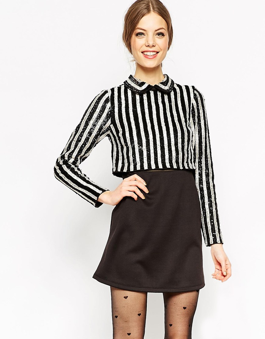 Sequin Stripe Crop Top Mini Dress Multi - style: shift; length: mini; pattern: vertical stripes; bust detail: added detail/embellishment at bust; secondary colour: white; predominant colour: black; occasions: evening; fit: body skimming; fibres: polyester/polyamide - 100%; neckline: no opening/shirt collar/peter pan; sleeve length: long sleeve; sleeve style: standard; trends: monochrome; pattern type: fabric; texture group: other - light to midweight; embellishment: sequins; multicoloured: multicoloured; season: a/w 2015