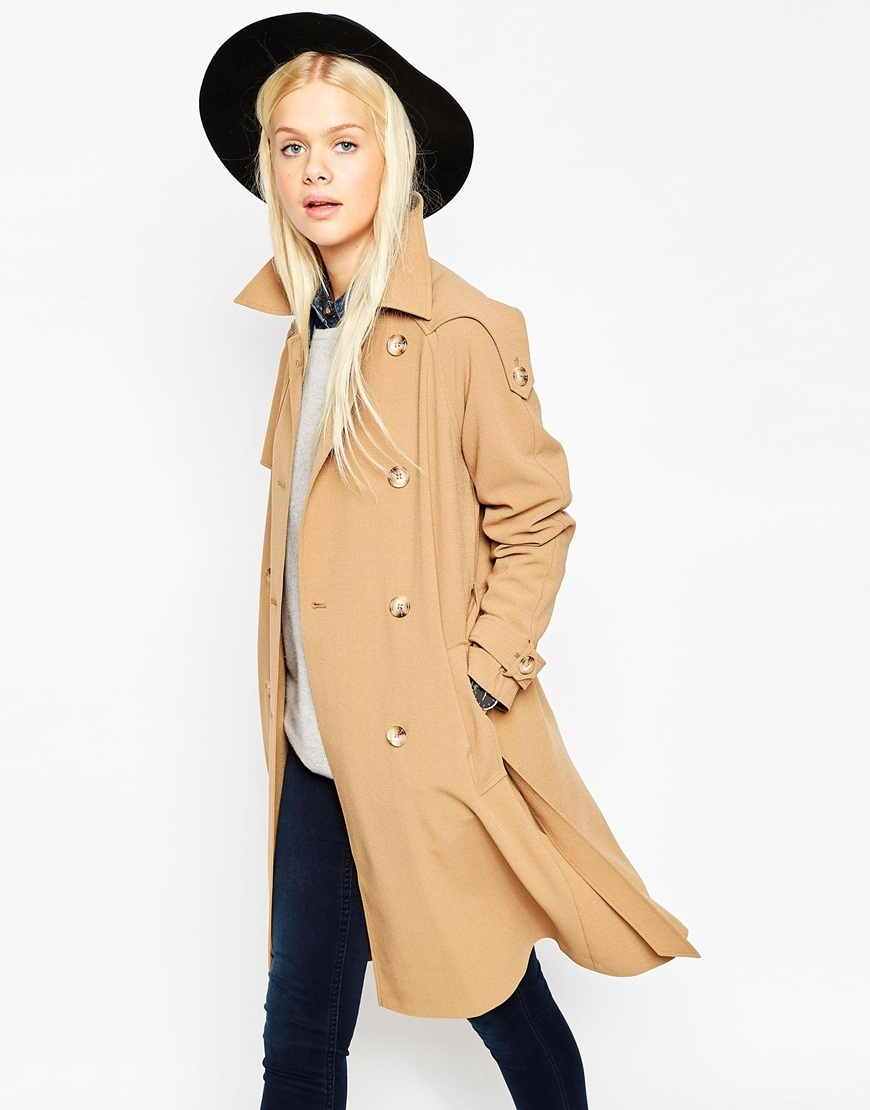 Trench Coat In Midi Length Camel - pattern: plain; style: trench coat; collar: standard lapel/rever collar; length: mid thigh; predominant colour: camel; occasions: casual, creative work; fit: straight cut (boxy); fibres: polyester/polyamide - stretch; sleeve length: long sleeve; sleeve style: standard; texture group: crepes; collar break: medium; pattern type: fabric; season: a/w 2015