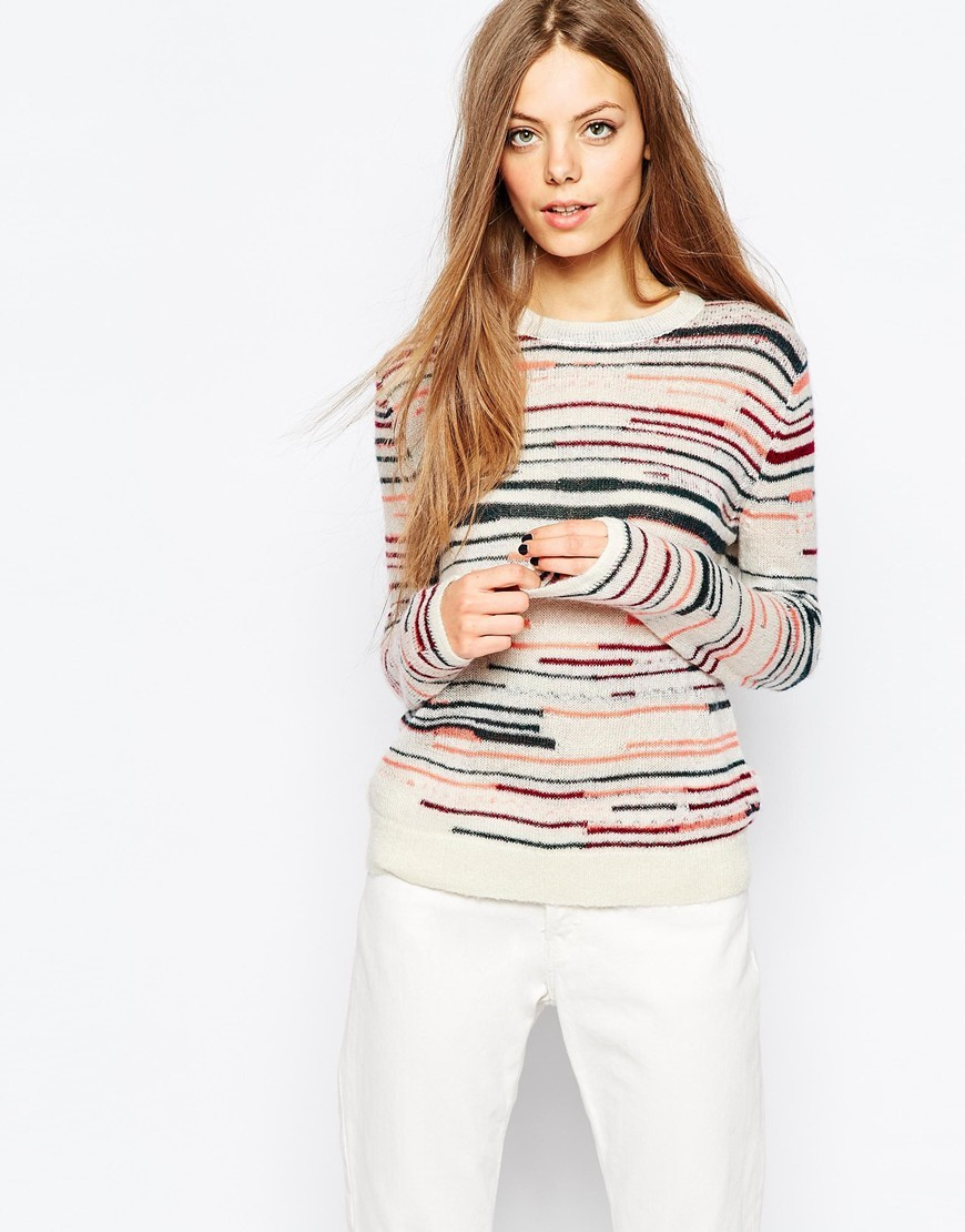 Classic Knit In Multi Stripe Multi - pattern: horizontal stripes; style: standard; predominant colour: ivory/cream; secondary colour: navy; occasions: casual; length: standard; fibres: acrylic - mix; fit: slim fit; neckline: crew; sleeve length: long sleeve; sleeve style: standard; texture group: knits/crochet; pattern type: fabric; multicoloured: multicoloured; season: a/w 2015; wardrobe: highlight