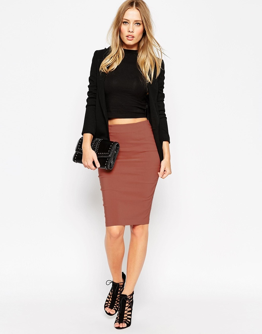 High Waisted Pencil Skirt Tobacco - pattern: plain; style: pencil; fit: tight; waist: high rise; predominant colour: terracotta; occasions: work, creative work; length: on the knee; fibres: viscose/rayon - stretch; texture group: jersey - clingy; pattern type: fabric; season: a/w 2015; wardrobe: highlight