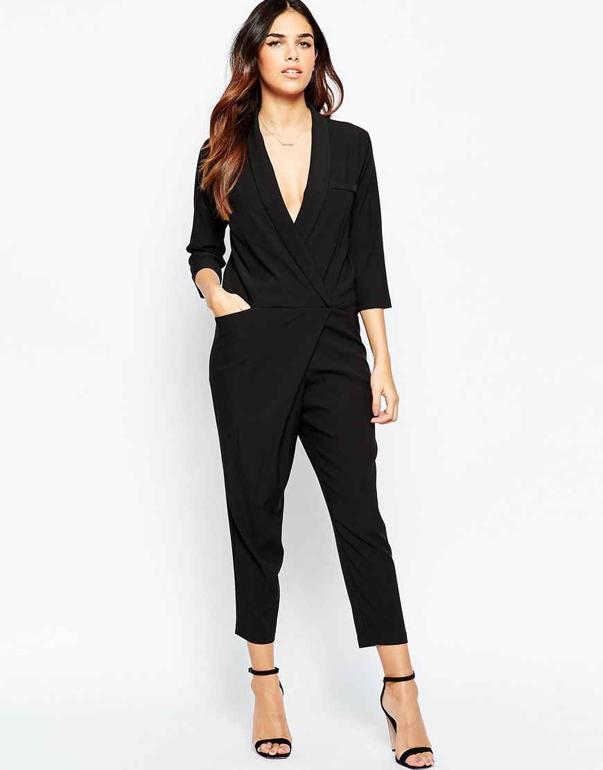 Jumpsuit With Wrap Front And Long Sleeves Black - neckline: low v-neck; pattern: plain; predominant colour: black; occasions: evening; length: ankle length; fit: body skimming; fibres: polyester/polyamide - stretch; sleeve length: 3/4 length; sleeve style: standard; style: jumpsuit; pattern type: fabric; texture group: jersey - stretchy/drapey; season: a/w 2015; wardrobe: event