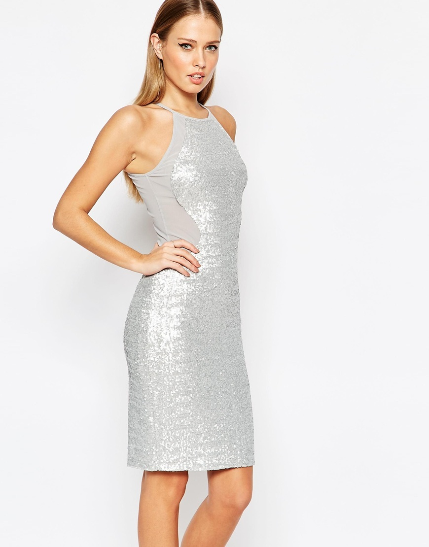 High Neck Mesh Panel Sequin Midi Dress Matte Ice Grey - fit: tight; pattern: plain; sleeve style: sleeveless; style: bodycon; predominant colour: silver; occasions: evening; length: just above the knee; fibres: polyester/polyamide - 100%; neckline: crew; sleeve length: sleeveless; texture group: jersey - clingy; pattern type: fabric; season: a/w 2015; wardrobe: event