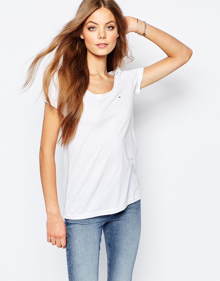 Flag T Shirt White - neckline: round neck; pattern: plain; style: t-shirt; predominant colour: white; occasions: casual; length: standard; fibres: polyester/polyamide - mix; fit: body skimming; sleeve length: short sleeve; sleeve style: standard; pattern type: fabric; texture group: jersey - stretchy/drapey; season: a/w 2015