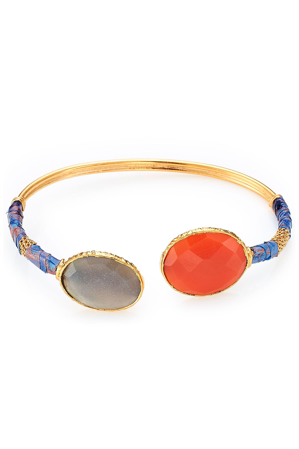Durality Sertil Gold Plated Bangle With Onyx & Chrysoprase - secondary colour: bright orange; predominant colour: gold; occasions: evening, occasion; style: cuff; size: standard; material: chain/metal; finish: metallic; embellishment: jewels/stone; season: a/w 2015; wardrobe: event