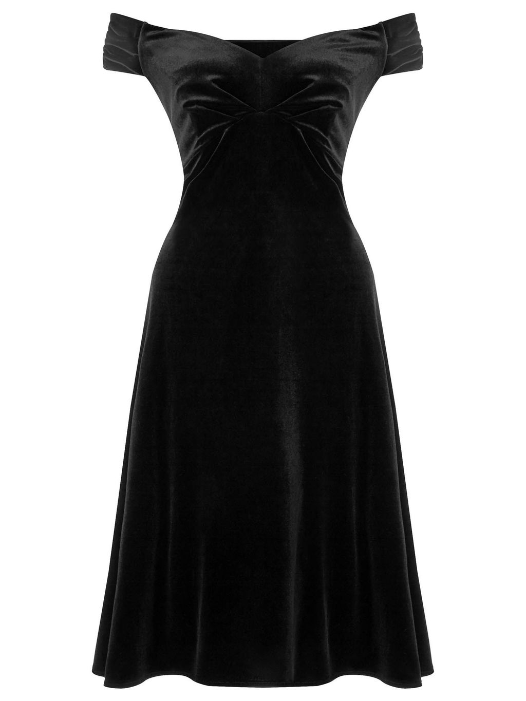 Danna Off The Shoulder Velvet Dress, Black - neckline: off the shoulder; sleeve style: capped; pattern: plain; predominant colour: black; occasions: evening, occasion; length: just above the knee; fit: fitted at waist & bust; style: fit & flare; fibres: polyester/polyamide - mix; sleeve length: short sleeve; pattern type: fabric; texture group: velvet/fabrics with pile; season: a/w 2015; wardrobe: event