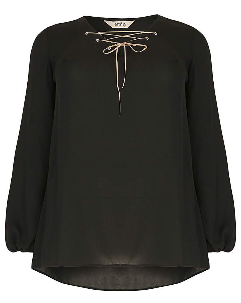 Emily Diamante Eyelet Top - neckline: v-neck; pattern: plain; sleeve style: balloon; style: blouse; predominant colour: black; occasions: casual, creative work; length: standard; fibres: polyester/polyamide - 100%; fit: straight cut; sleeve length: long sleeve; texture group: crepes; pattern type: fabric; season: a/w 2015; wardrobe: basic