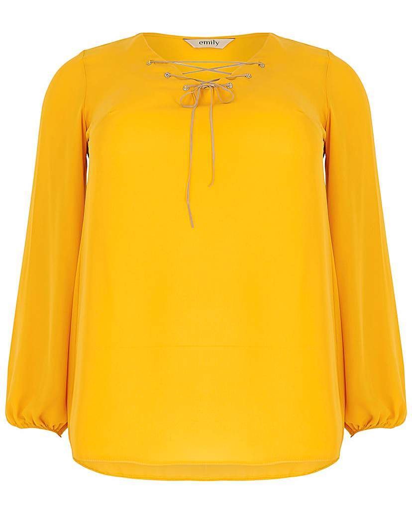 Emily Diamante Eyelet Top - neckline: v-neck; pattern: plain; predominant colour: yellow; occasions: casual; length: standard; style: top; fibres: polyester/polyamide - 100%; fit: straight cut; sleeve length: long sleeve; sleeve style: standard; pattern type: fabric; texture group: jersey - stretchy/drapey; season: a/w 2015; wardrobe: highlight; embellishment location: bust