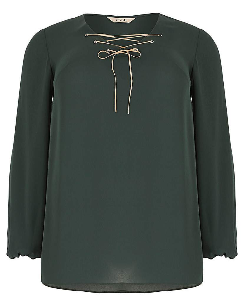 Emily Diamante Eyelet Top - neckline: v-neck; pattern: plain; bust detail: added detail/embellishment at bust; predominant colour: dark green; occasions: casual; length: standard; style: top; fibres: polyester/polyamide - 100%; fit: straight cut; sleeve length: long sleeve; sleeve style: standard; pattern type: fabric; texture group: jersey - stretchy/drapey; season: a/w 2015