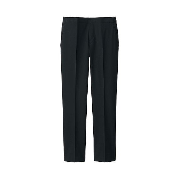 Women Ankle Length Trousers Black - pattern: plain; waist: mid/regular rise; predominant colour: black; occasions: work; length: ankle length; fit: straight leg; pattern type: fabric; texture group: woven light midweight; style: standard; season: a/w 2015; wardrobe: basic